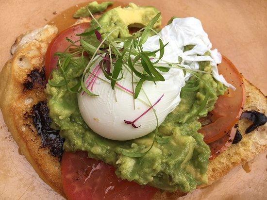 Chill Cafe: avocado, vegemite and poached egg on ciabatta