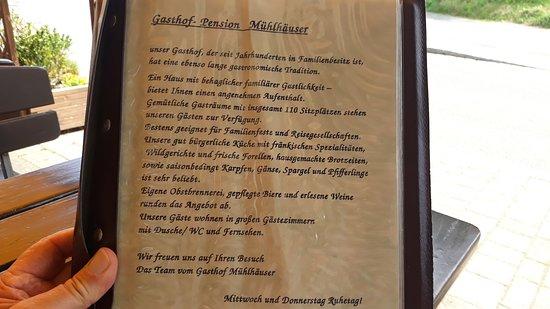Einleitung Zur Speisekarte Picture Of Muehlhaeuser Forchheim