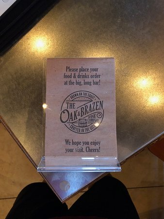 Placard On Table Picture Of The Oak Brazen Wine Co Delaware