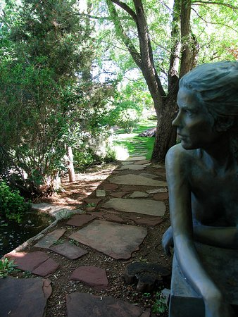 """""""Monday"""" looks out on her beautiful garden."""
