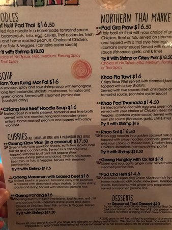 La Carte Du Jour Picture Of Pai Northern Thai Kitchen Toronto Tripadvisor