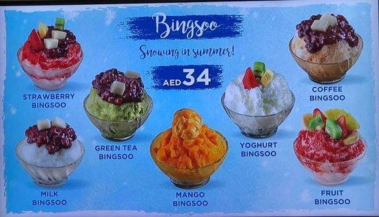 Bingsoo Flavors - Picture of Mealtop Bingsoo Cafe, Dubai - TripAdvisor