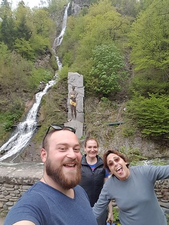 Tour to Borjomi.Our joyful guests From USA in Borjomi historical  Park With George and Prometheu
