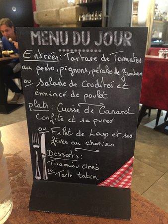Grans, Frankrijk: Exemple de menu du jour