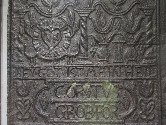 "Cornwall, Pensilvania: Steel plate inscription ""God is my salvation"