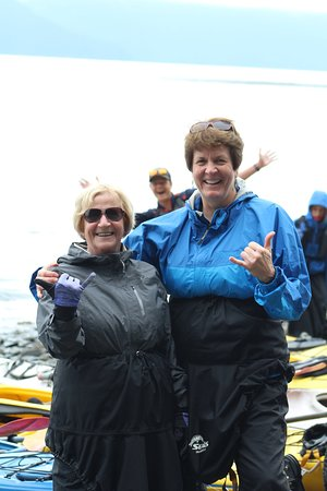 Seward Kayak Tour on Resurrection Bay: Logan with a great Photo Bomb of Midge and Sue