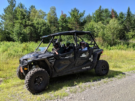 Bingham, ME: This is the UTV (Polaris RZR type) we rented, plus my three teens.