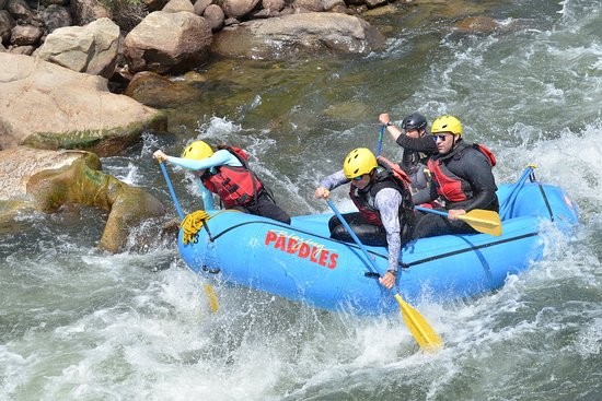 Blazing Adventures: Ben guiding us over rapid 5 of the Numbers route (Class 4 rapids) Arkansas River