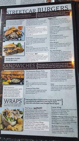 Streetcar Kitchen and Pub: dinner menu