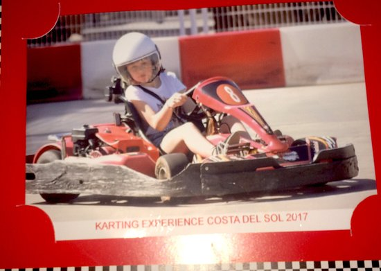 kart over fuengirola My daughter on her go kart 5 euros to get a photo printed out  kart over fuengirola