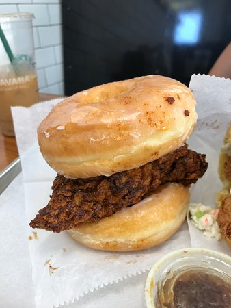 Sam's Fried Chicken and Donuts: Spicy chicken strips and donuts.