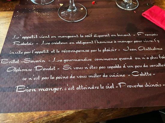 Serriera, France : Devise du restaurant ?