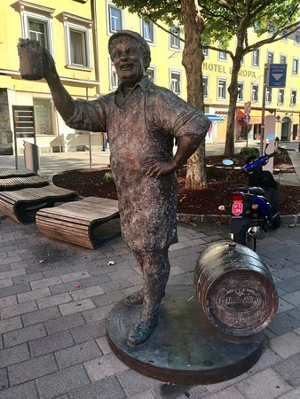 Villach, Austria: Statue in the morning
