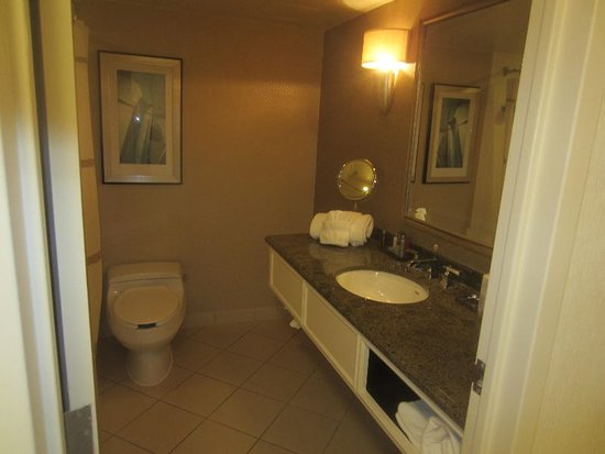 Linthicum Heights, MD: Low profile commode right up against the bathtub