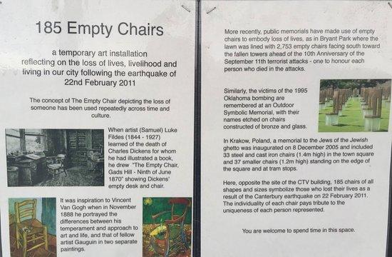 185 Empty White Chairs - Earthquake Memorial: Les explications de ce Mémorial !