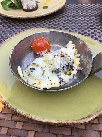 Weinwirtschaft: Schlutzkrapfen mit Spinatfüllung in Kamptaler Blütenbutter mit geschmolzenen Tomaten und Ziegenk