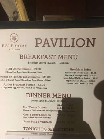 Half Dome Village Pavillion: menu
