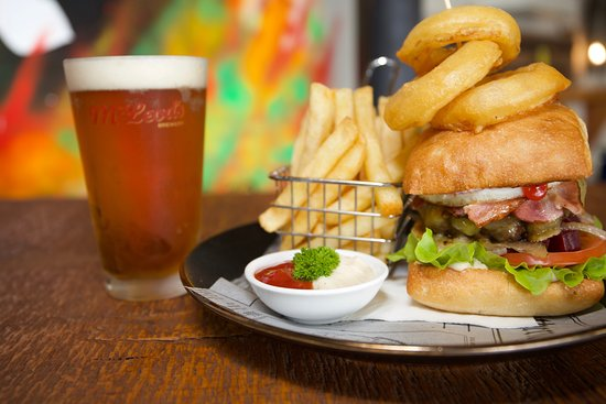 Thirty30 Craft Beer Bar: Thirty30 Burger and fries, with a cold McLeods beer