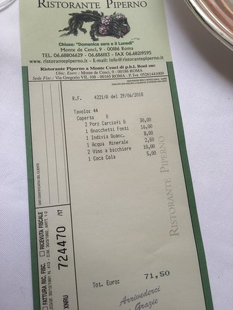 Piperno: Lunch tab for 2