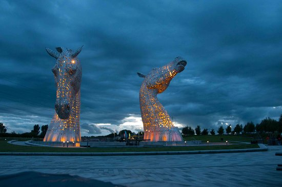 Outlander Tour: One of the coloured Kelpies at night