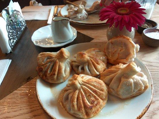 "Кафе ""Есть Хинкали & Пить Вино"": Fried khinkali with lamb, chili and herbs"