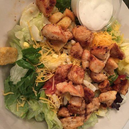 Eunice, LA: Fried alligator and chicken salad