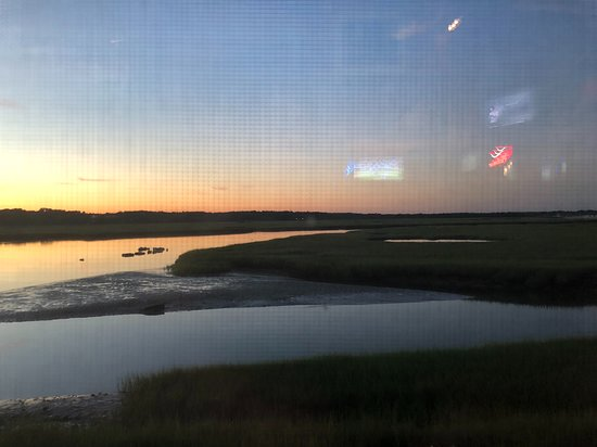 Billy's Chowder House: Marsh View at Sunset (pardon the screen in the window please)