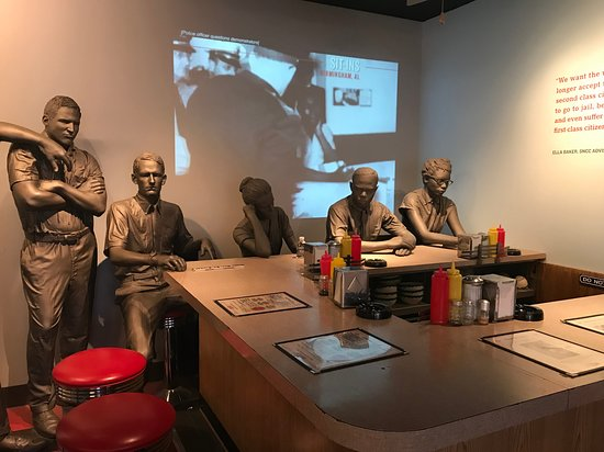 National Civil Rights Museum - Lorraine Motel: Lunch counter sit in scene shows the brutality they endured