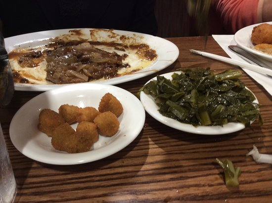 Harrisburg, NC: Beef liver, collards, and fried okra