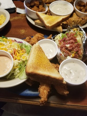 Stephenville, TX: This is a pic of the chicken finger dinner - salad and baked potato for the side (took most home
