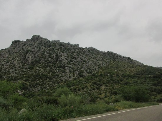 Pileta Caves (Cueva de la Pileta) : The cave is in the center of this hillside, parking lot to right. Tough to see, right?