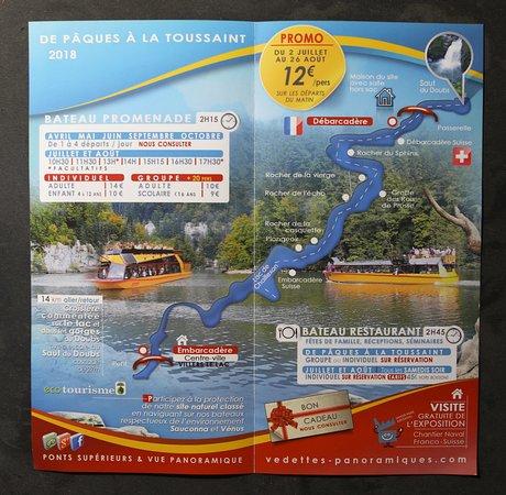 Le flyer des Vedettes Panoramiques du Saut du Doubs