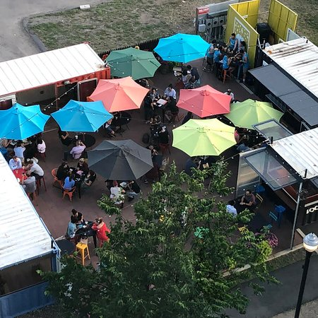 Recycled Shipping Containers Make Up The American Fresh Beer Garden.