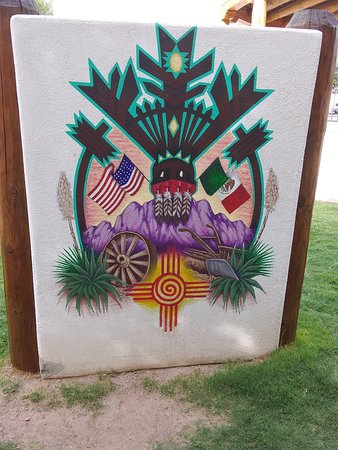 Painting on stucco located on the plaza in Mesilla NM