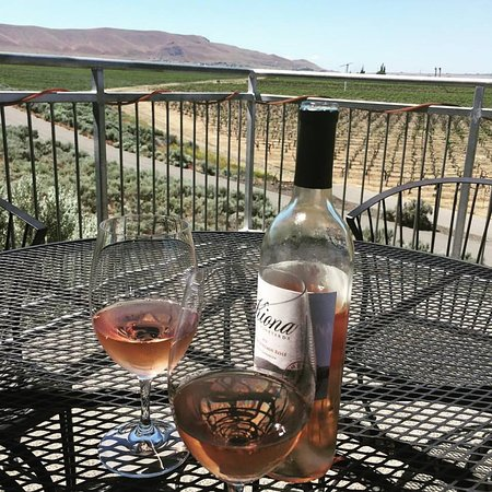 Kiona Vineyards and Winery: Sitting on the deck with a chilled Rose.
