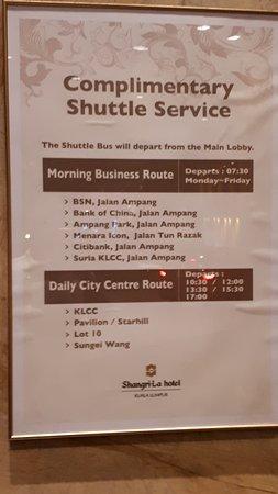 شانجري - لا هوتل - كوالالمبور: Shuttle Bus timing