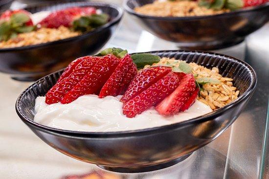Fresh strawberries, yogurt and oats