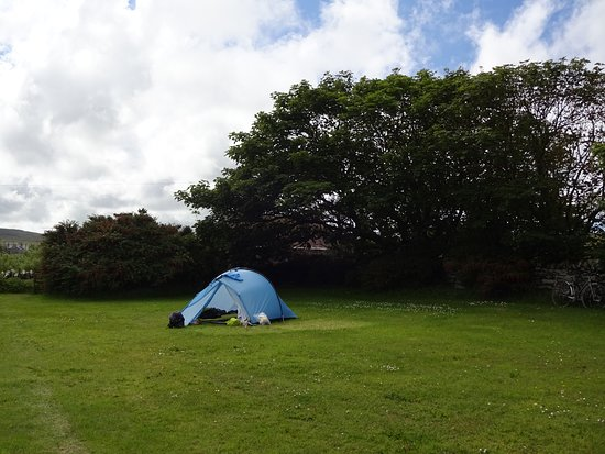 Evie, UK: the campsite is well sheltered by trees