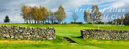 Bridge of Allan, UK: Our signature hole, 223 yards uphill, Par 3, guarded by 5ft stone wall