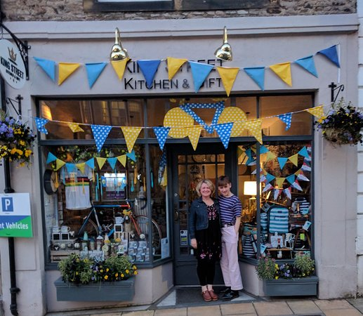 Richmond, UK: a photo of shop-owner, on night before Tour de Yorkshire.