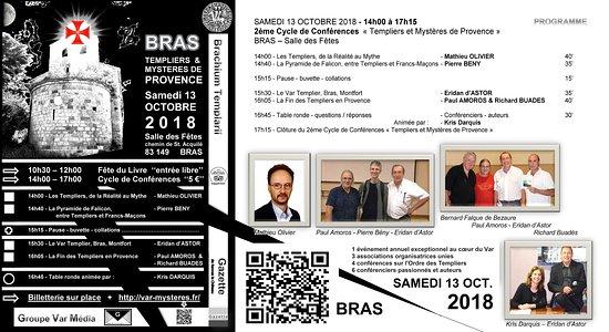 """Les Arcs sur Argens, France: BRAS 83149 VAR FRANCE en conférences le SAMEDI 13 OCTOBRE 2018 (14h-17h) """" templiers & mystères"""