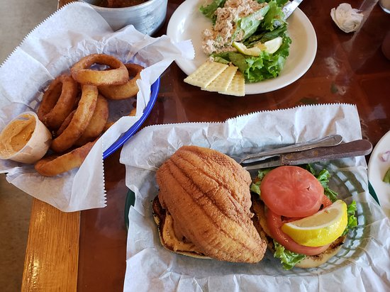 Chowder Ted's: Here is the fried flounder sandwich with onion rings
