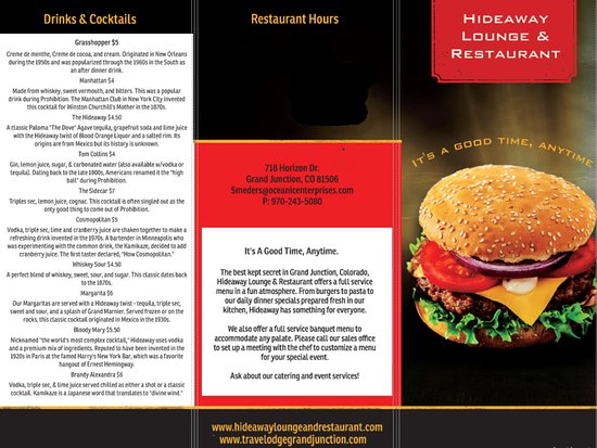 Hideaway Menu - Picture of Hideaway Lounge and Restaurant, Grand