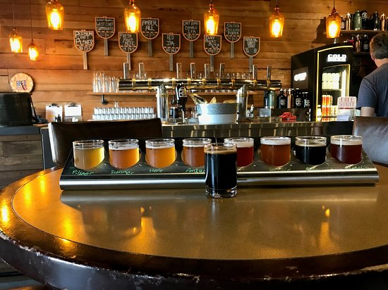 Highway 97 Brewery: L to R: pils, weisse, hefe, ale, coffee stout, red ipa, ipa, scotch ale, porter
