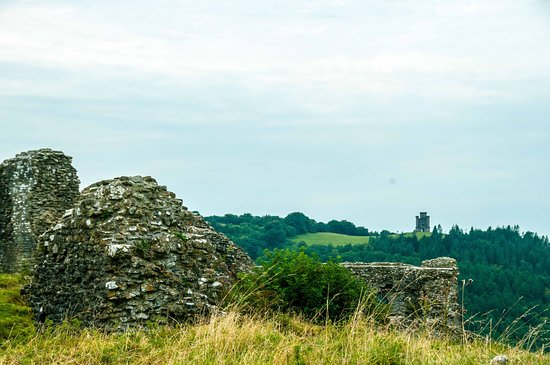 A view of Paxton's Tower as seen from Dryslwyn Castle