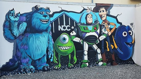 Newcastle, UK: PIXAR heroes wall