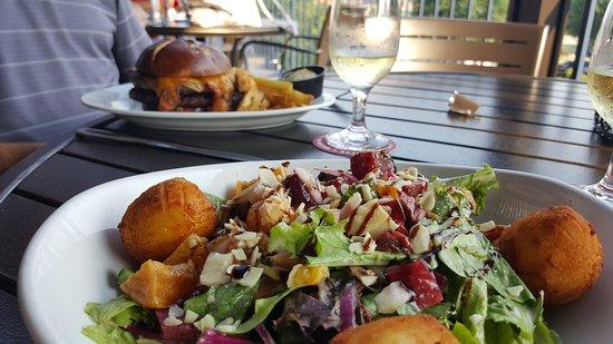 Enjoying Roasted Beet Salad Note Goat Cheese Croquettes Brat