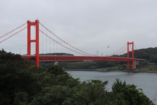 Hirado Ohashi: 平戸地区のある橋の展望休憩所からの橋の眺め。