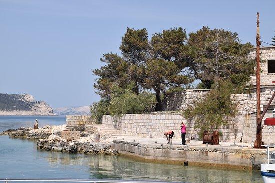 Primorje-Gorski Kotar County, Croatia: Goli otok - kleiner Anlaufstelle für Ausflugsboote