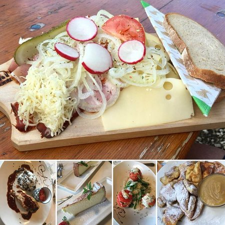 Wangle, ออสเตรีย: Div. Speisen im Restaurant/Hotel und auf der Alm
